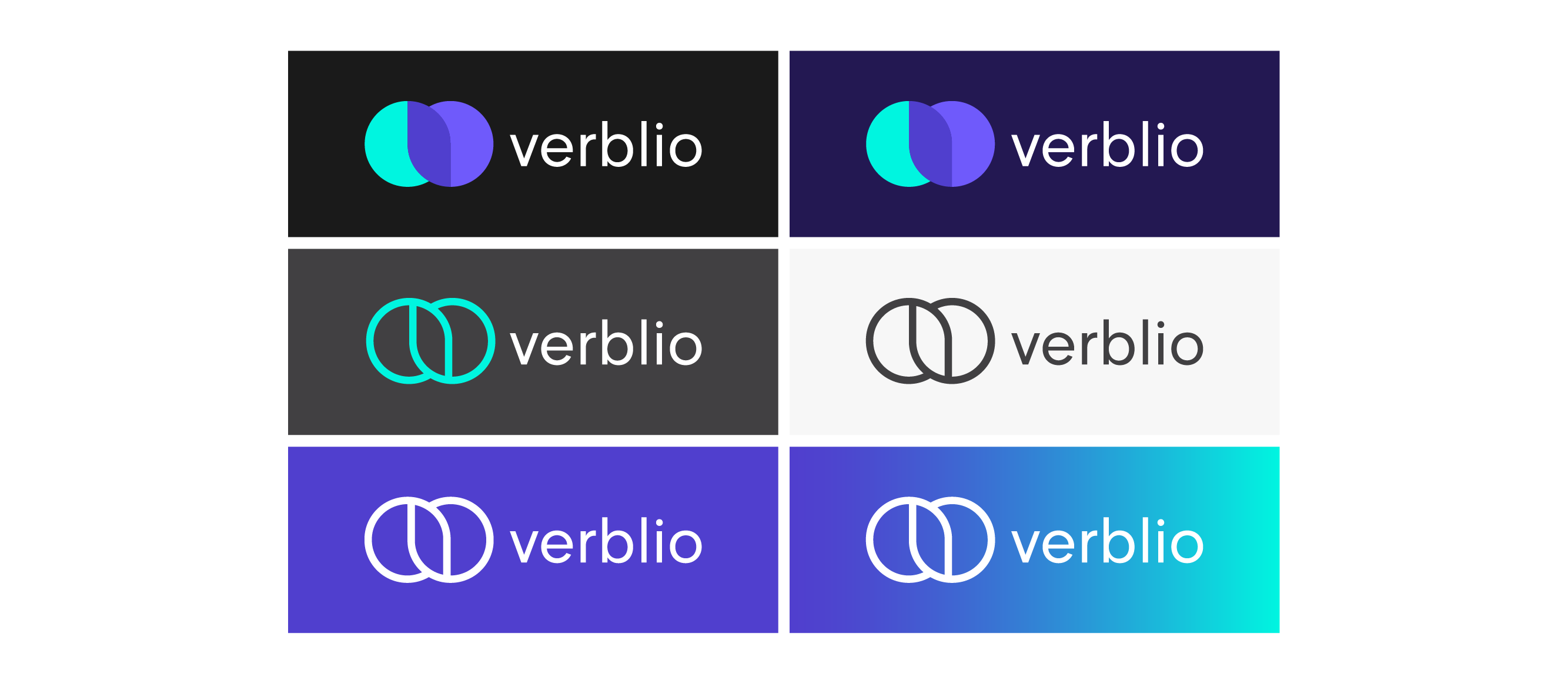 image of verblio 4 color and single color logo versions designed by lulofs